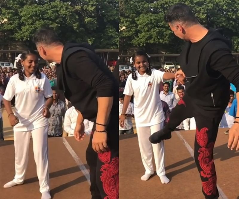 Watch Akshay Kumar teach self-defense techniques to a young girl