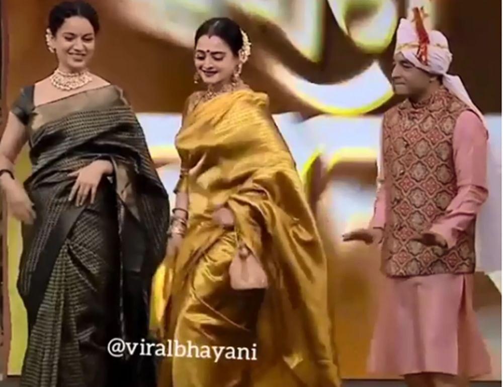 """Watch! Rekha recreates her iconic thumkas in Marathi song """"Kutha kutha jayacha honeymoon la"""""""