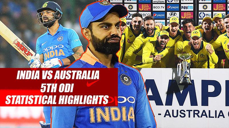India vs Australia 5th ODI Statistical Highlights