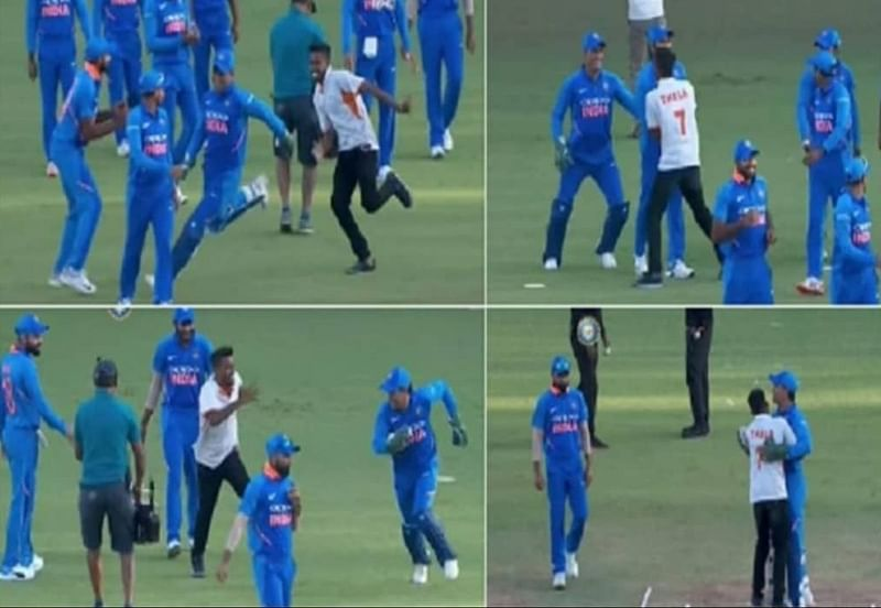 'They are watching the match': Gavaskar-Hayden engage in funny banter as MS Dhoni fan breaches security during 2nd ODI