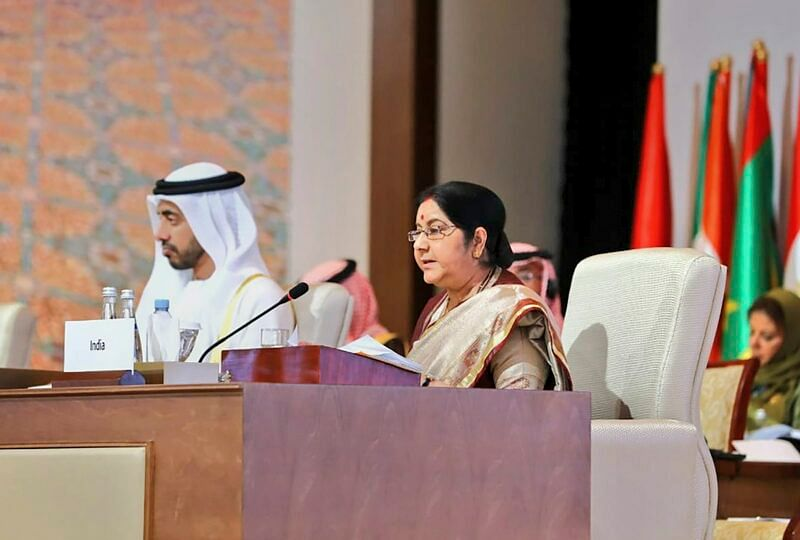 Abu Dhabi: External Affairs Minister Sushma Swaraj addresses as 'Guest of Honour' at the 46th Foreign Ministers' Meeting of Organisation of Islamic Cooperation in Abu Dhabi, Friday, March 1, 2019. (TWITTER/PTI Photo)  (PTI3_1_2019_000047B)