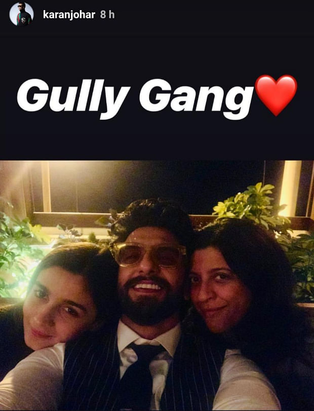 This reunion pic of Ranveer, Alia and Zoya is making us demand for 'Gully Boy' sequel