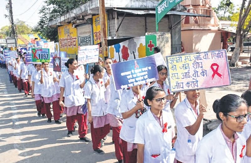 Ujjain: Nursing students take out rally on World AIDS Day