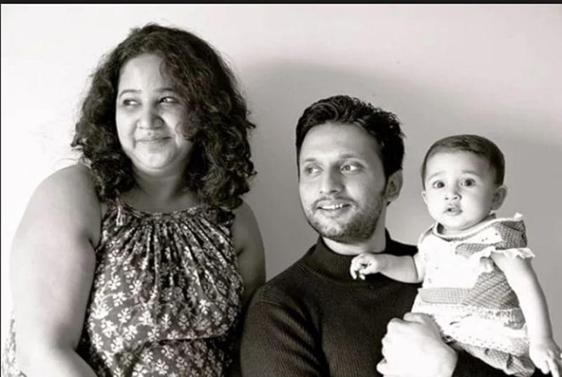 Rasika with husband Mohammed Zeeshan Ayyub and daughter