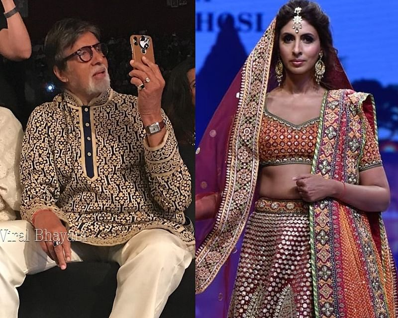 Watch Amitabh Bachchan whistle at paparazzi to move away as he captures daughter Shweta on the runway