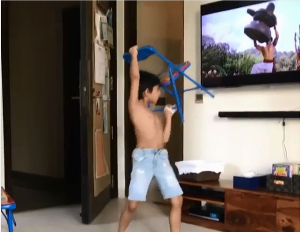 Chairbali! Shilpa Shetty's son Viaan recreates Prabhas' 'Baahubali' act; watch video