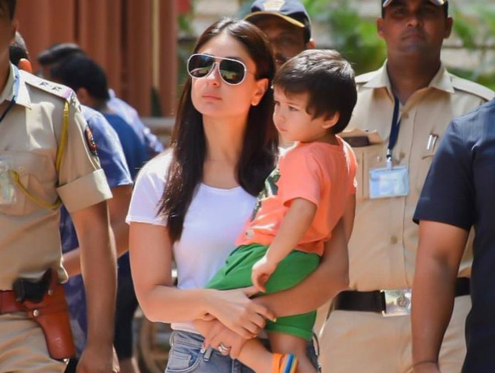 Taimur Ali Khan wearing saffron T-shirt at polling booth with mom Kareena takes the Twitter plunge
