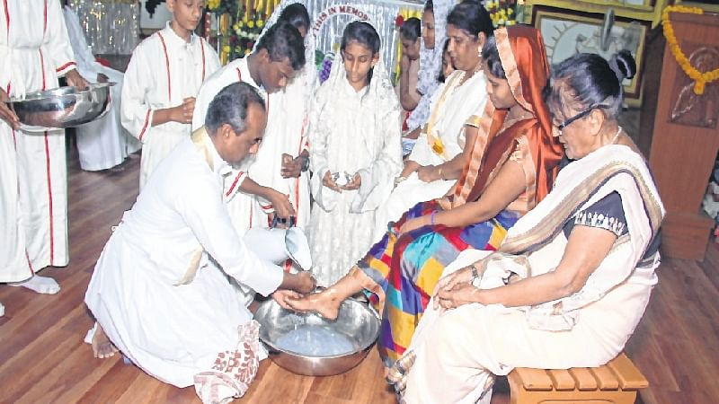 Indore: Feet washing ceremony held in churches on Maundy Thursday