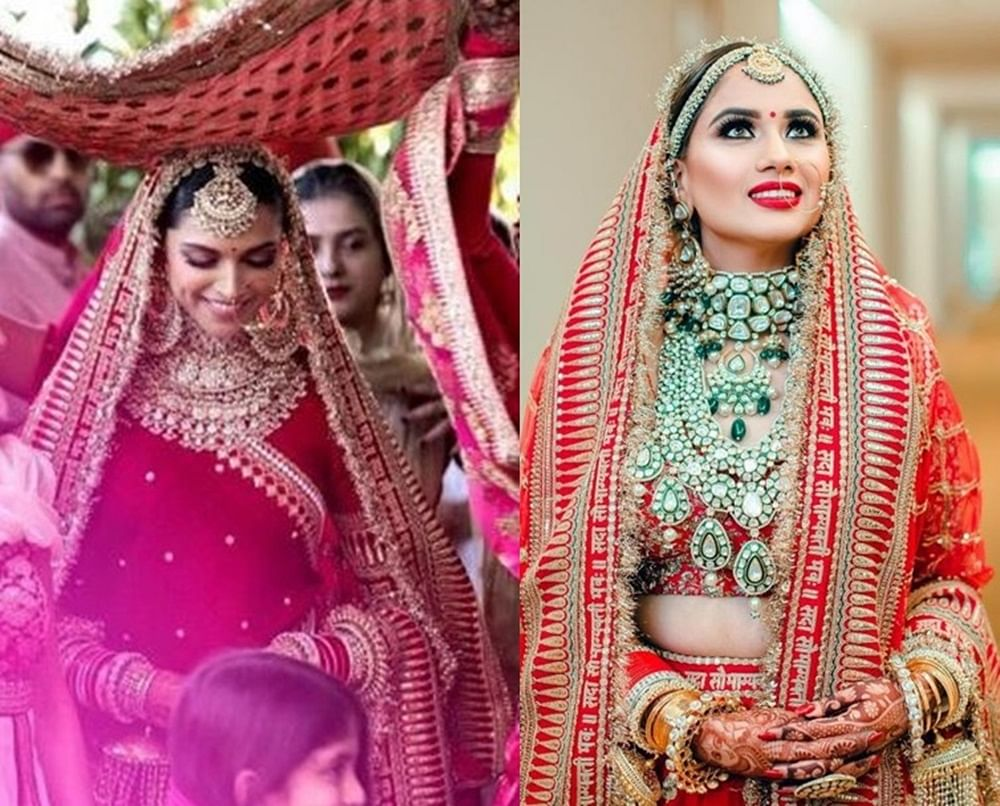 This Indian bride wore a knockoff Sabyasachi lehenga similar to Deepika Padukone's Sindhi wedding; see pic