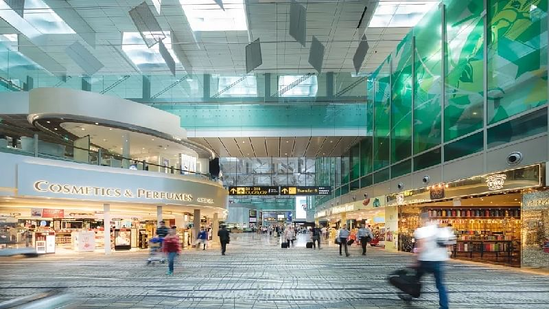 Singapore Changi Airport's roof made up of 9,600 pieces of glass