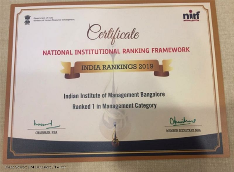 IIM Bangalore beats IIM Ahmedabad in NIRF Rankings 2019