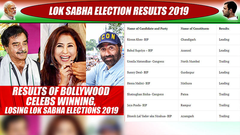 Results Of Bollywood Celebs Winning, Losing Lok Sabha Elections 2019