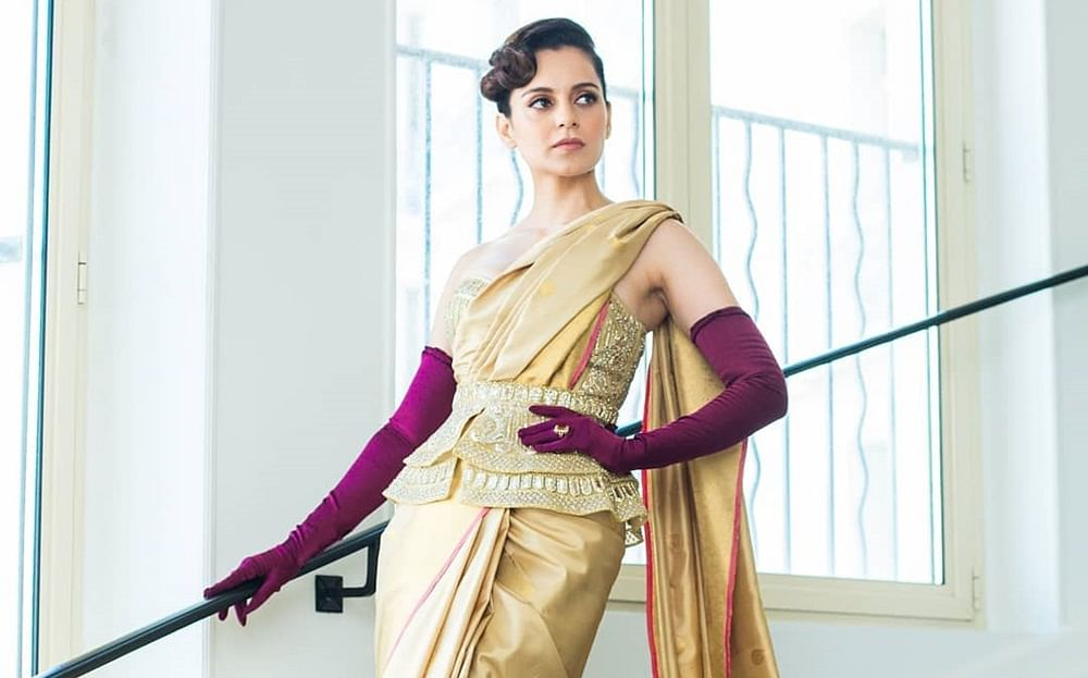 Kangana Ranaut raises brows with a quirky saree and corset at Cannes Film Festival 2019