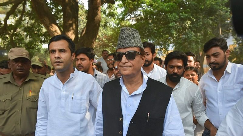Samajwadi Party (SP) candidate from Rampur, Azam Khan, and his son Adeeb Azam Khan.