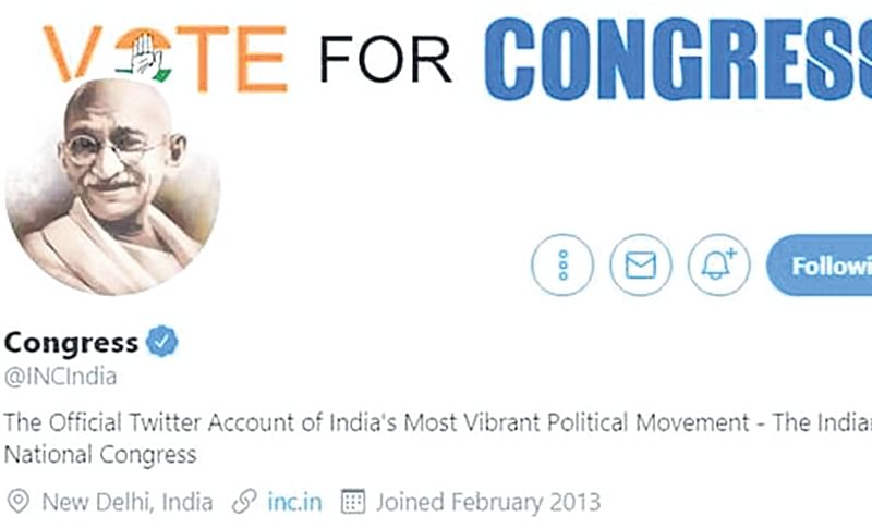Congress puts Mahatma Gandhi image on twitter profile