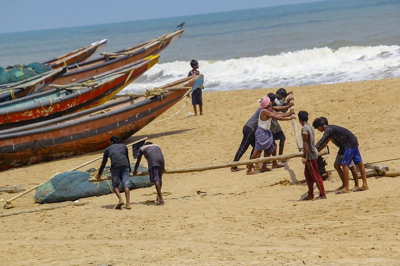 Puri: Fishermen anchor their boats after they were advised not to venture into the sea in the view of cyclonic storm 'Fani', at Puri beach, Tuesday, April 30, 2019. (PTI Photo)