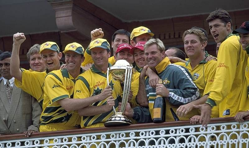 Australia with the 1999 Cricket World Cup Trophy. Pic: @ICC/ Twitter