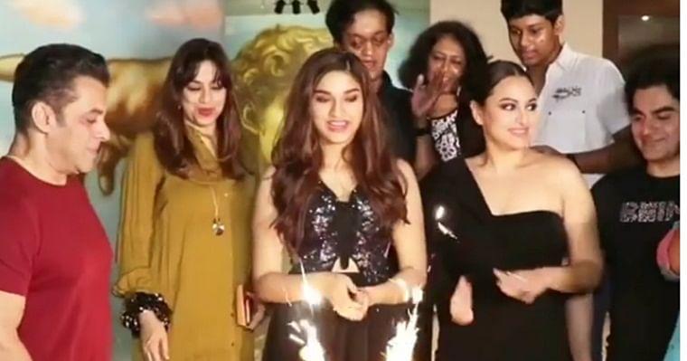 In pics: Saiee Manjarekar celebrates 18th birthday with 'Dabangg 3' star cast