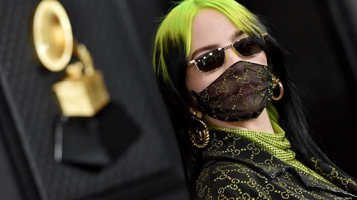 Billie Eilish wearing a Gucci mask
