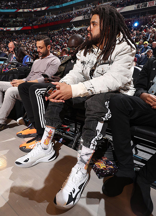 J Cole Sporting the RS Dreamer in a Black & White Colourway at the NBA All-Star Weekend
