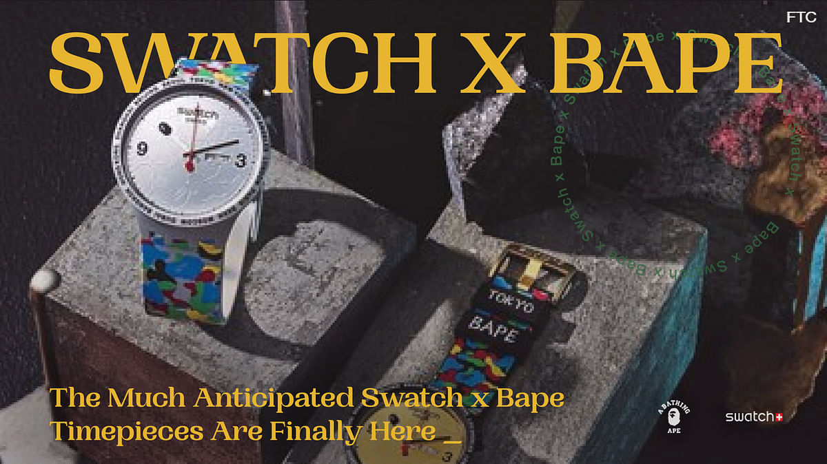 The Much Anticipated Swatch x Bape Timepieces Are Finally Here
