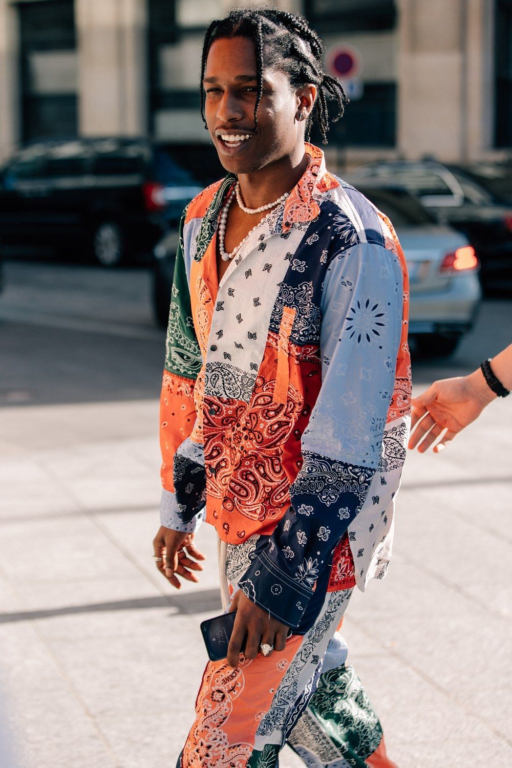 ASAP Rocky sporting paisley overalls