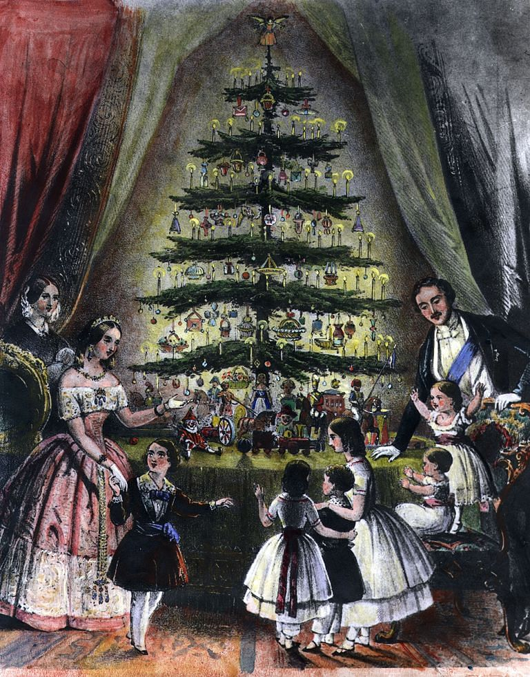 The engraving of the royal family decorating the tree in 1848