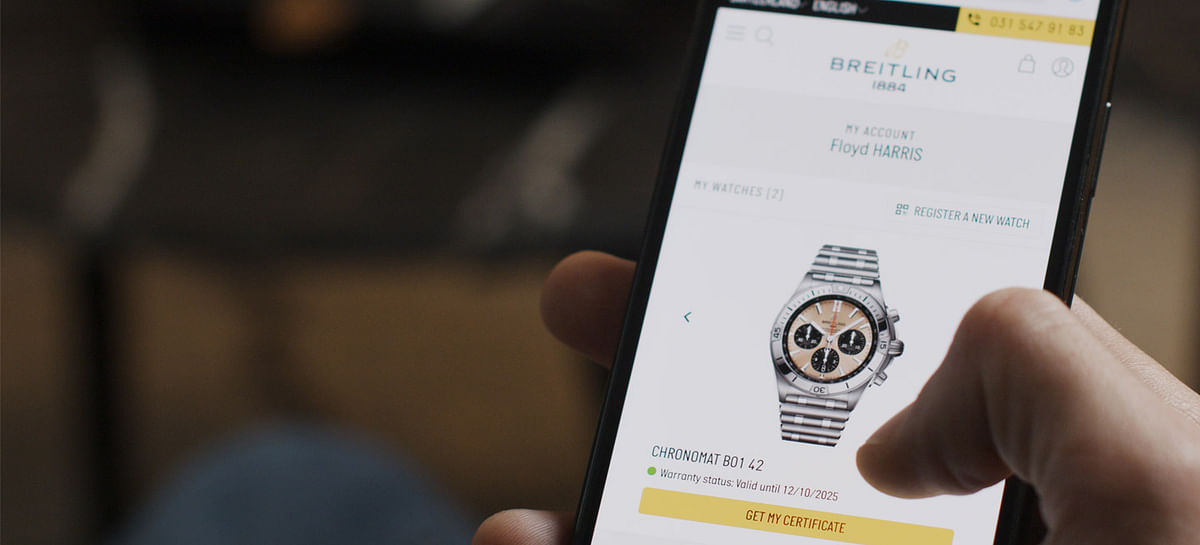A still from the Arianee blockchain app, which has partnered up with luxury watchmaker Breitling.