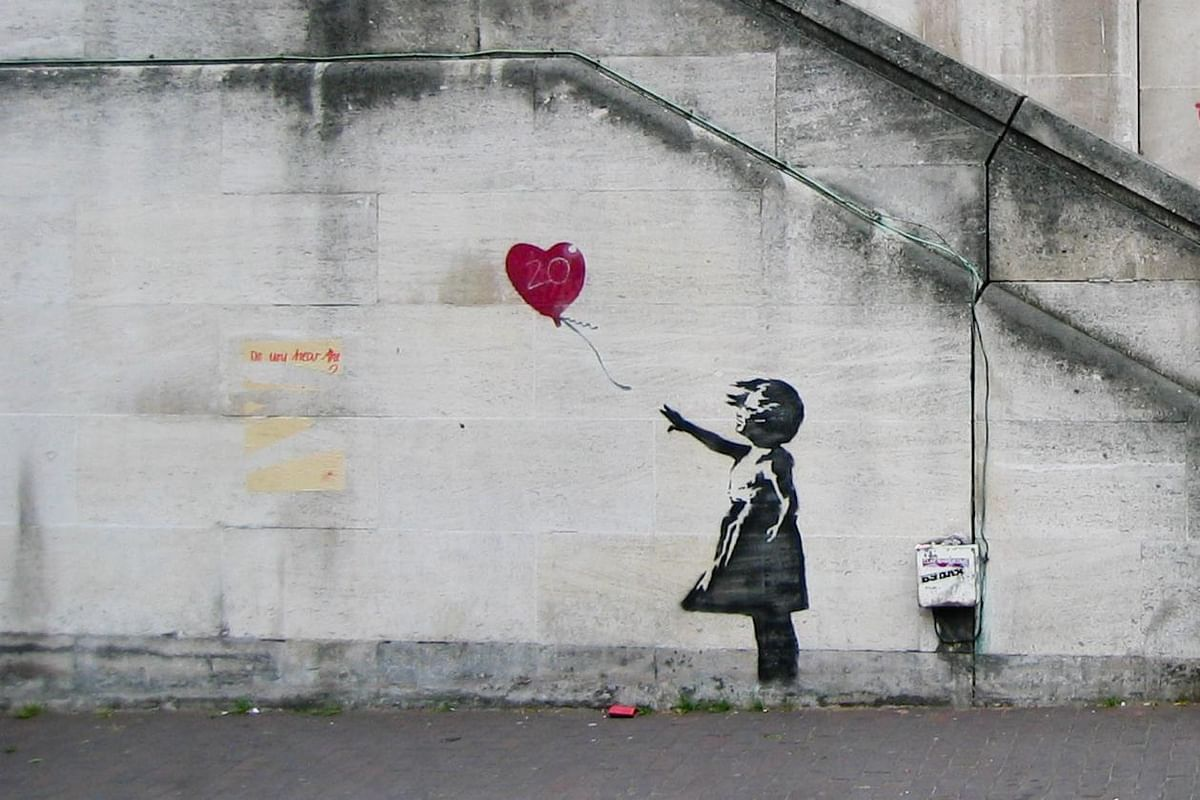 Banksy's 'Girl with Balloon,' arguably one of his most famous artworks.
