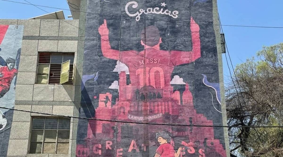 One of the murals for Messi, by Budweiser India.