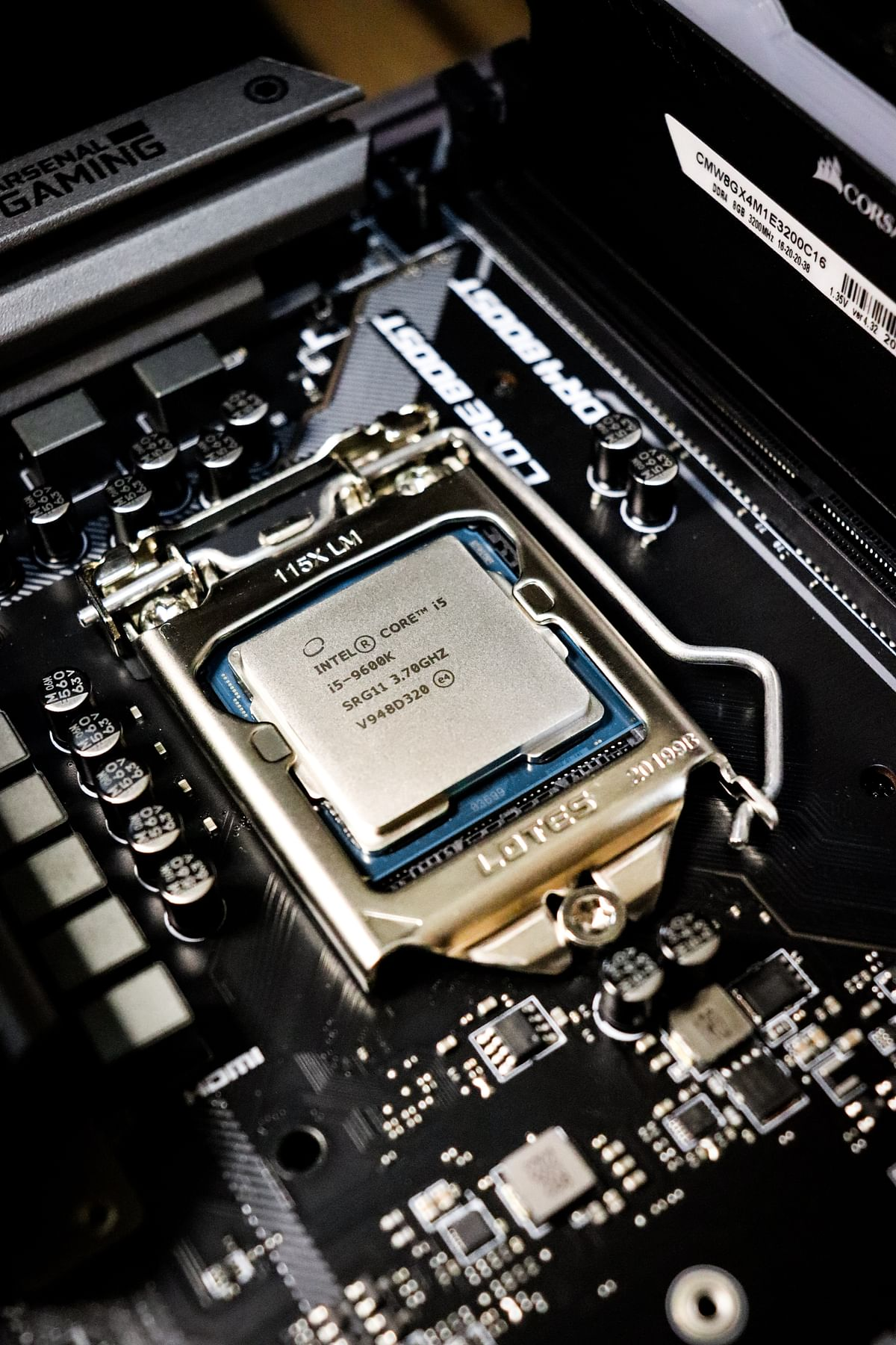 An Intel CPU on a motherboard