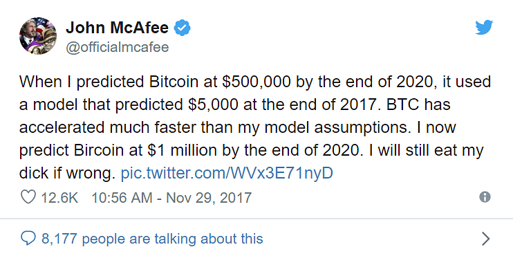 His Tweet promising to eat his own penis if Bitcoin reaches $1 millio by the end of 2020