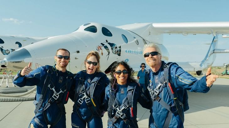 Richard Branson and some of the team members that were part of this trip that went up to the edge of space.