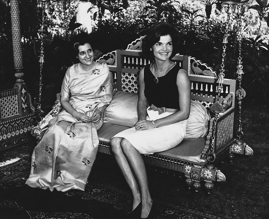 """<div class=""""paragraphs""""><p><strong>The Indian politician Indira Gandhi, meeting with Jacqueline Kennedy in 1962 Homai Vyarawalla.</strong>&nbsp;<br></p></div>"""