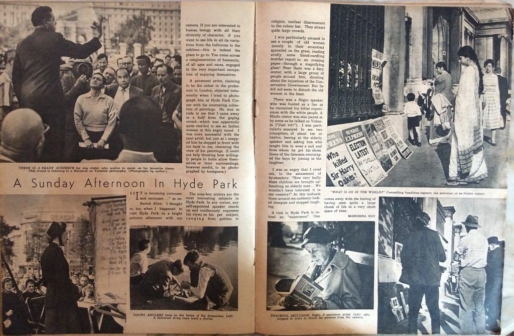 """<div class=""""paragraphs""""><p><strong>Manobina Roy, """"A Sunday Afternoon in Hyde Park."""" </strong><em><strong>The Illustrated Weekly of India</strong></em><strong>. March 1960</strong></p></div>"""