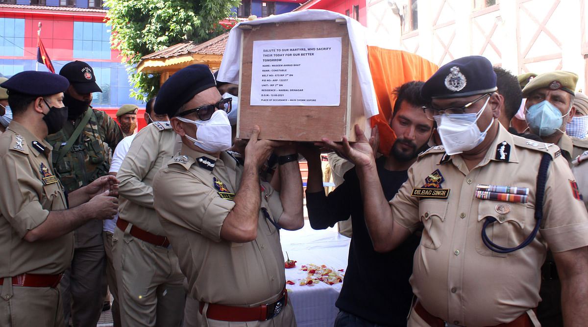 Top officials of police during the wreath laying ceremony of policemen killed in Sopore attack, on Saturday 12 June 2021.