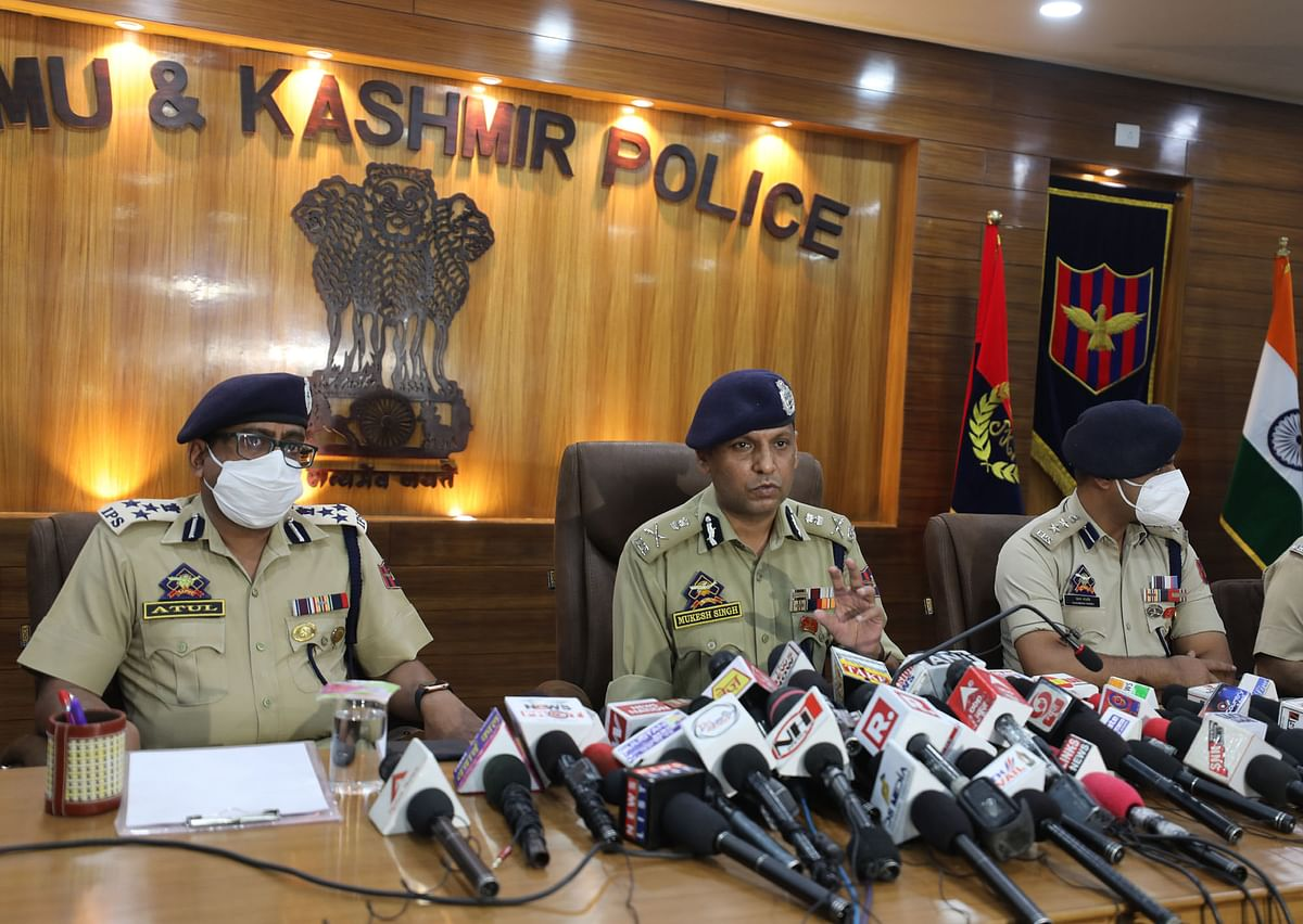ADGP Jammu [centre] addressing a press conference in Jammu on Friday.