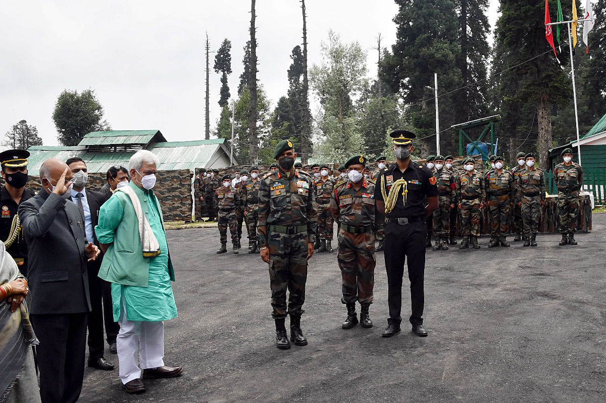 President Kovind interacts with soldiers