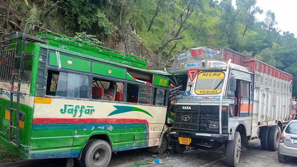 Driver among 16 injured after bus, truck suffer head-on collision in J&K's Poonch