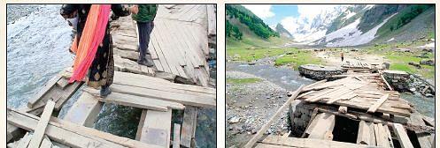 Visitors rue damaged footbridges in Sonamarg