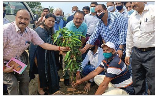 Navin inaugurates  High Density Plantation of Mango, Kagzi lime in Jammu