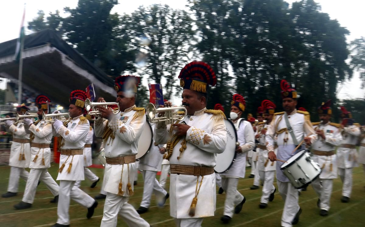 A band performs during the 75th Independence Day celebrations at Sher-e-Kashmir stadium in Srinagar on Monday, 15 August 2021.
