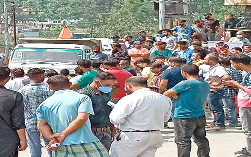 ABVP activists protest in Ramban, block highway