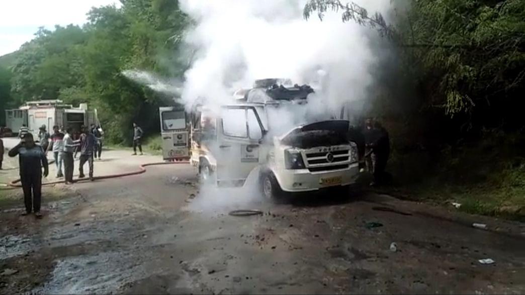 Ambulance catches fire in north Kashmir's Bandipora
