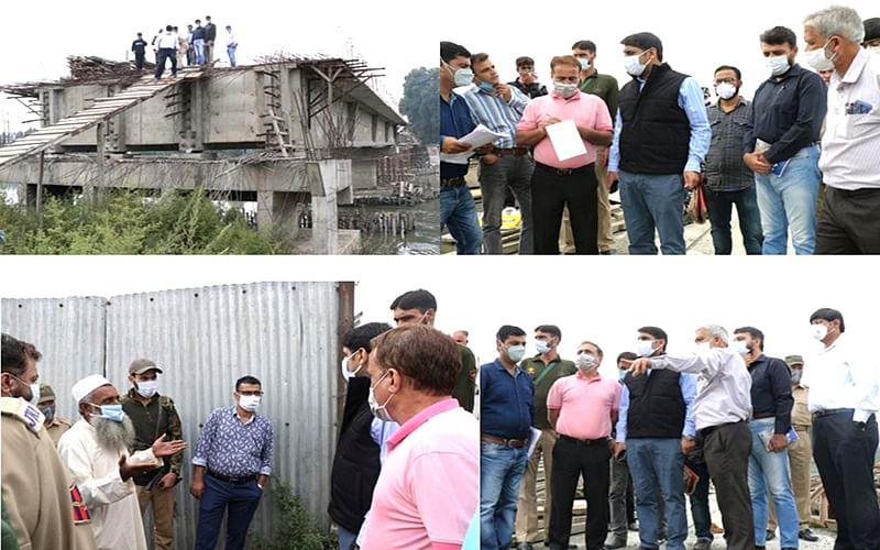 DC Srinagar inspects under construction Noor Jehan Bridge at Qamarwari