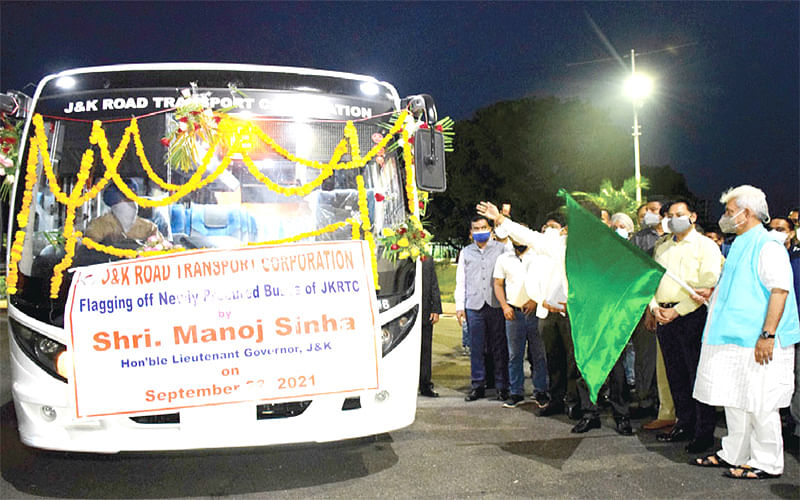 LG flags off first lot of 95 newly procured JKRTC buses