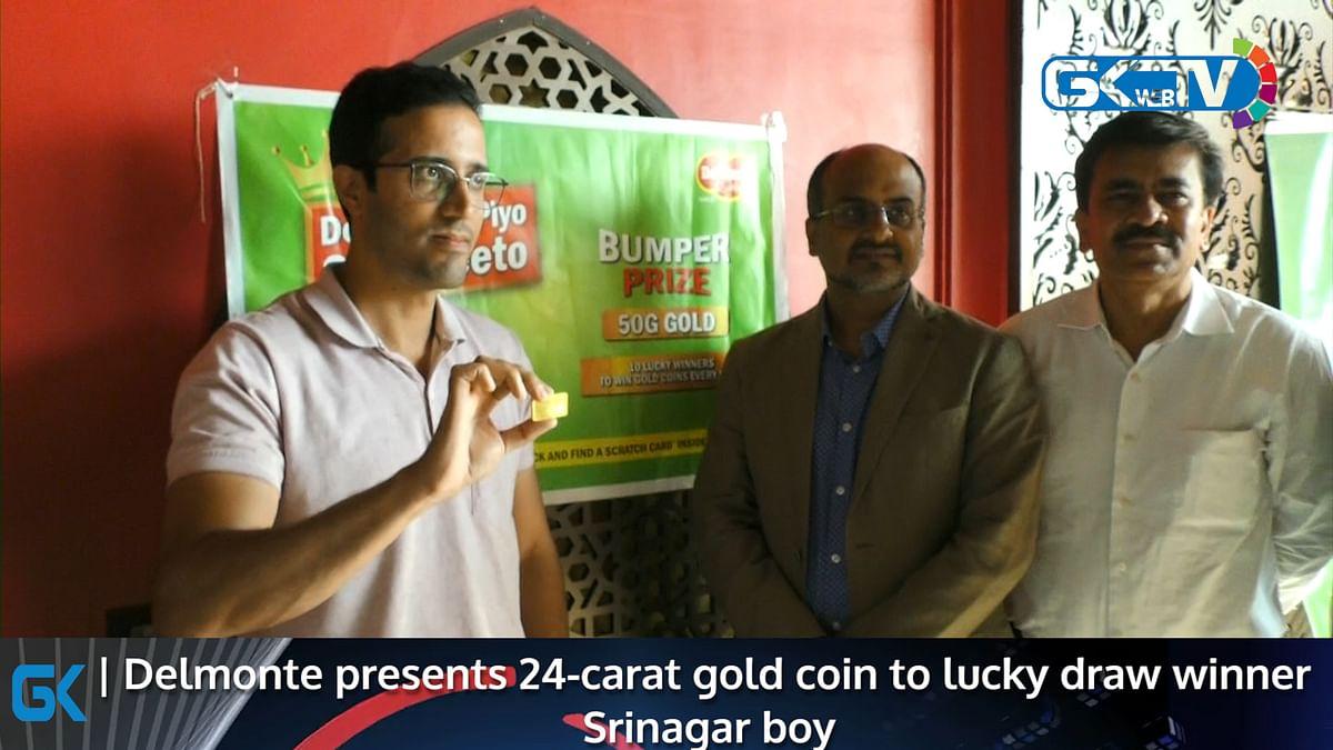 Delmonte presents 24-carat gold coin to lucky draw winner Srinagar boy