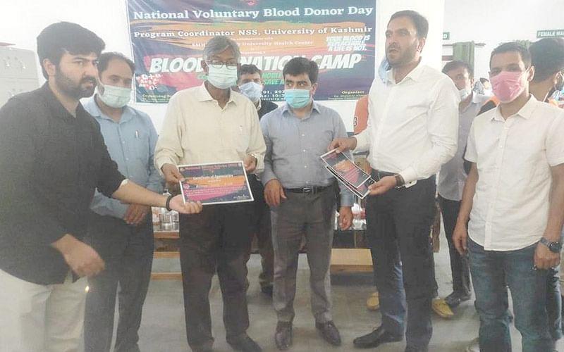 KU VC Prof Talat inaugurates NSS blood donation camp