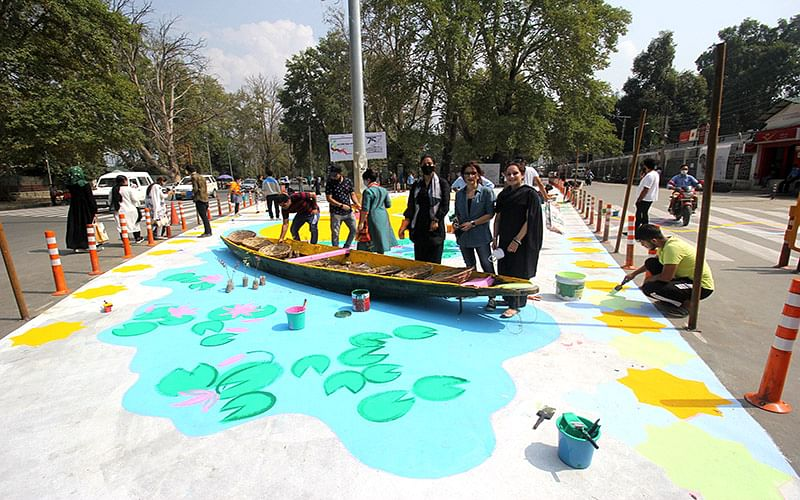 Under Smart City Project, city-centre road gets colourful touch