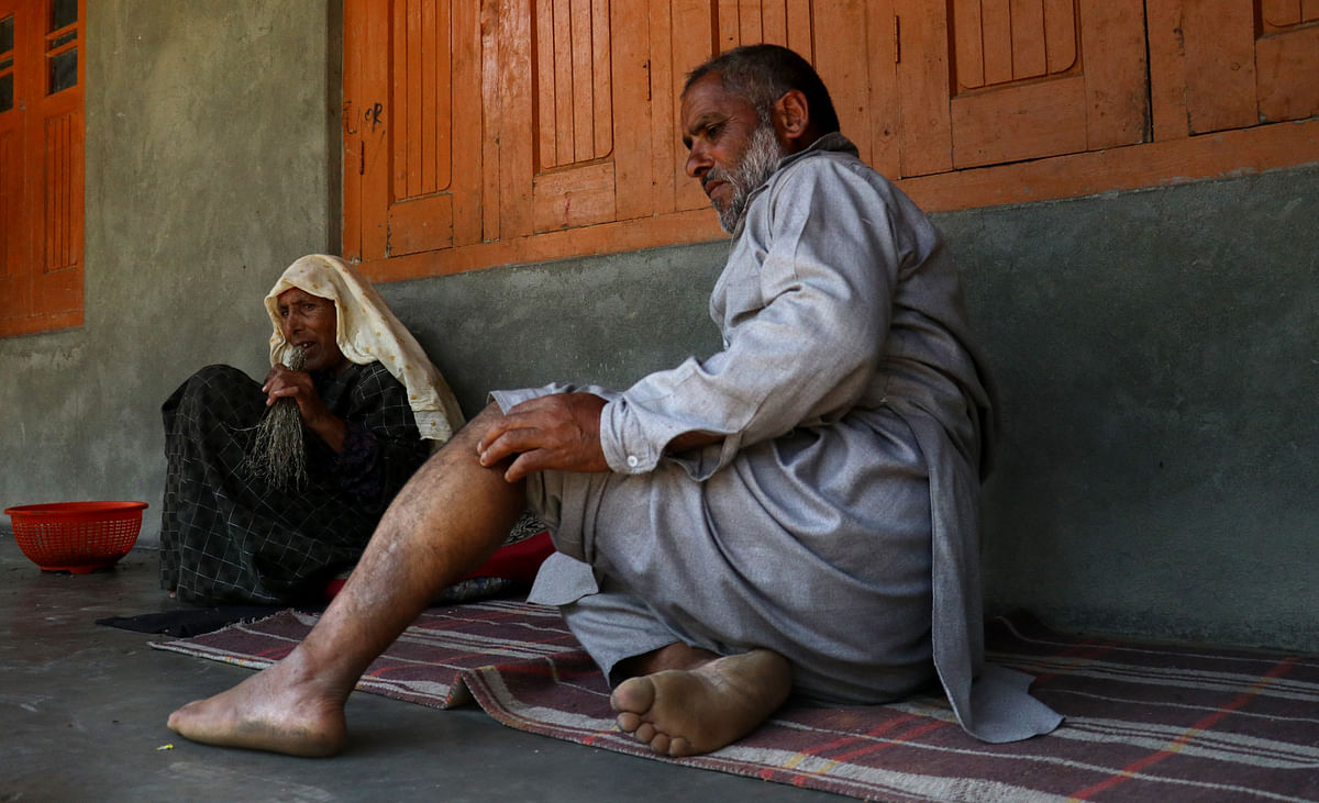 Abdul Rahim Lone of Sitaharan, Khag in central Kashmirat Budgam suffered as many as 65 stitches in his leg and other body parts in a bear attack in 2019 leaving him mostly out of work.